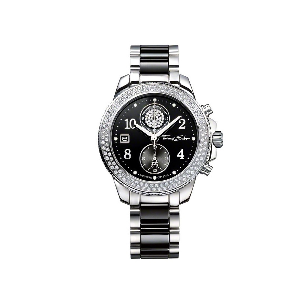 Ladies Black Ceramic Stainless Steel Chronograph Watch