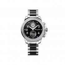 Glam & Soul Ladies Black Ceramic Stainless Steel Chronograph Watch