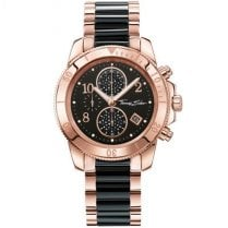 Ladies Glam and Soul Rose Gold & Black Stainless Steel Chronograph Watch