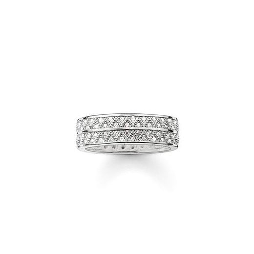Thomas Sabo Ladies White Zirconia Zigzag Ring
