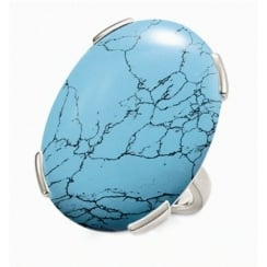 Large Oval Turquoise Silver Ring - Size 52