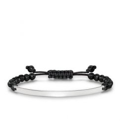 Love Bridge Facetted Black Obsidian Adjustable Bracelet