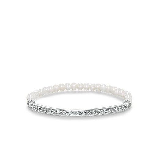 Thomas Sabo Love Bridge White Zirconia Cultivated Freshwater Pearl Bracelet