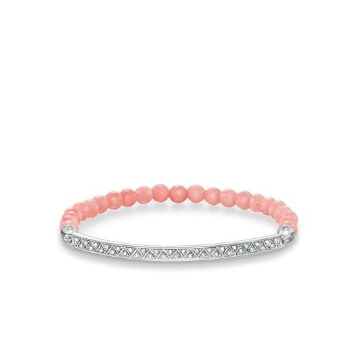 Thomas Sabo Love Bridge White Zirconia Facetted Pink Bamboo Coral Bracelet