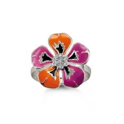 Purple & Orange Enamel Tropical Flower Ring - Size 52