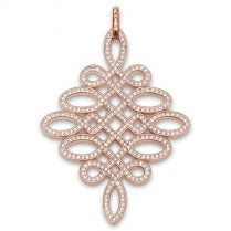 Rose Gold CZ Large Knot Pendant