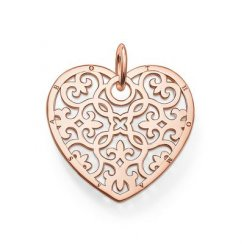 Rose Gold Filagree Heart Pendant