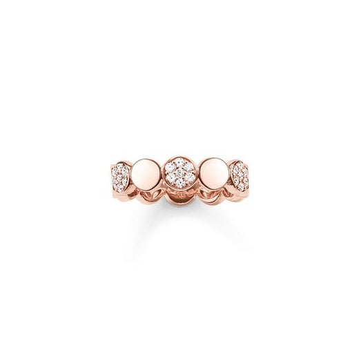 Thomas Sabo Rose Gold & Pavé Zirconia Discs Ring - Size 54