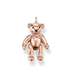 Rose Gold Polished Teddy Bear Pendant
