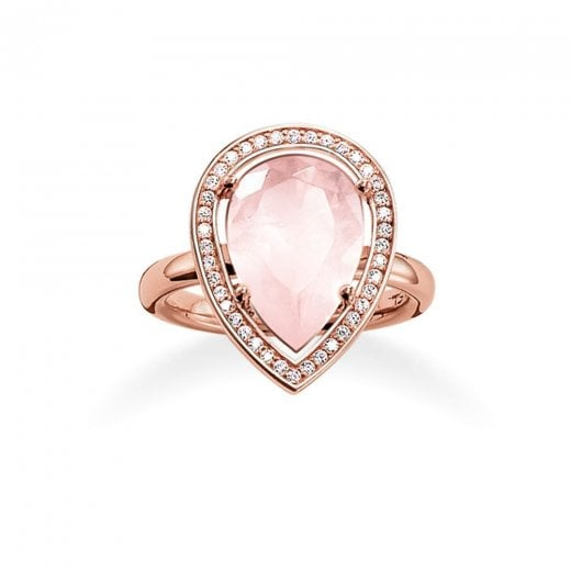 Thomas Sabo Rose Gold & Rose Quartz Pear Ring - Size 54