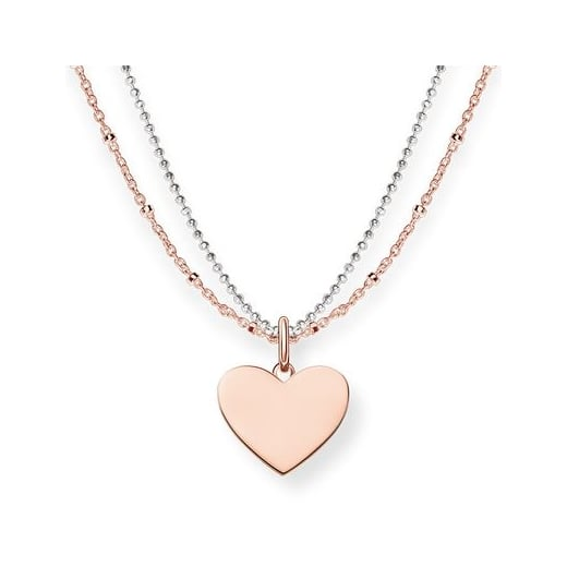 Thomas Sabo Rose & Silver Double Chain Heart Necklace