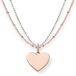 Rose & Silver Double Chain Heart Necklace