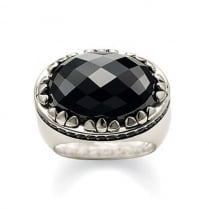 Silver Black Oval CZ Ring - Size 56