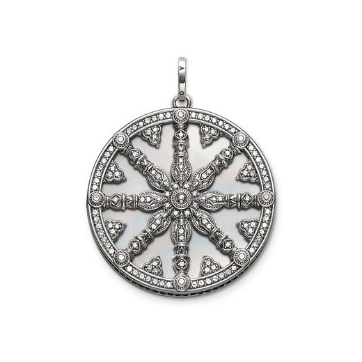 Thomas Sabo Silver CZ Mother of Pearl Wheel of Karma Pendant