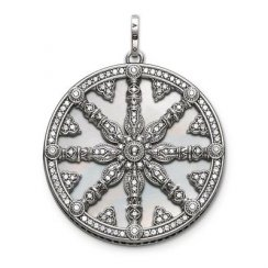 Silver CZ Mother of Pearl Wheel of Karma Pendant