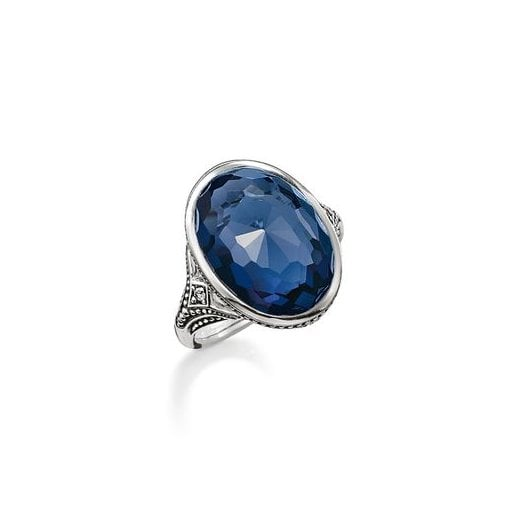 Thomas Sabo Silver & Dark Blue Synthetic Oval Spinel Ring - Size 56