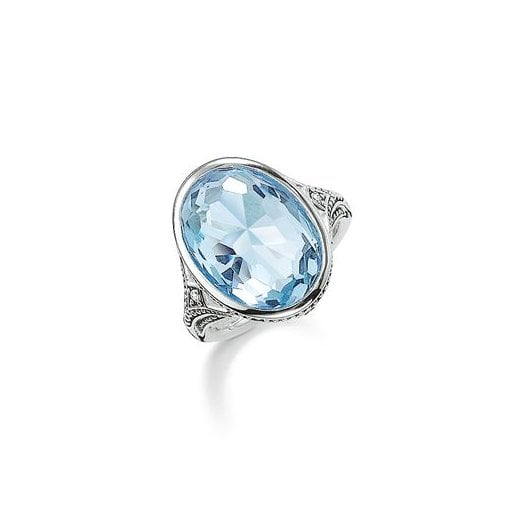 Thomas Sabo Silver & Light Blue Synthetic Oval Spinel Ring - Size 52
