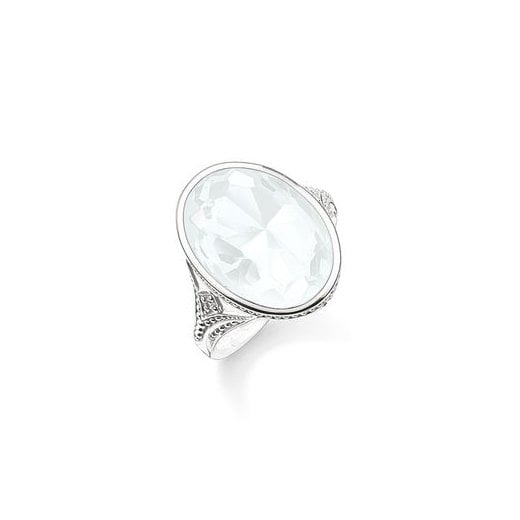 Thomas Sabo Silver & Milky Quartz Oval Lotus Ring - Size 54