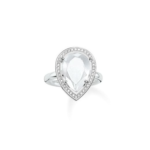 Thomas Sabo Silver & Milky Quartz Pear Shaped Ring - Size 54