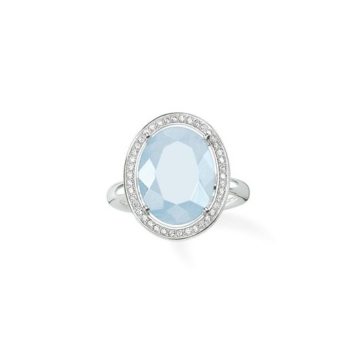 Thomas Sabo Silver Oval Aqua Ring - Size 54