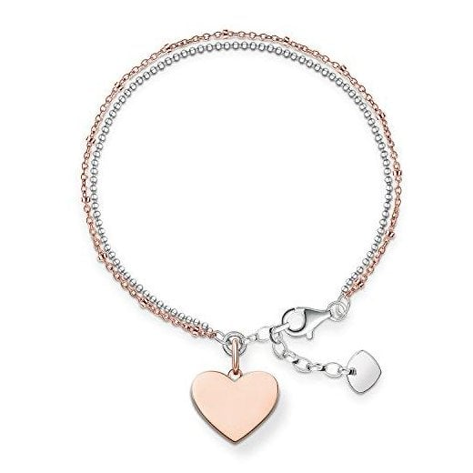 Thomas Sabo Silver & Rose Gold LoveBridge Heart Bracelet