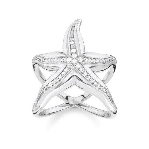 "Thomas Sabo STERLING SILVER Glam & Soul Ring ""Starfish"""