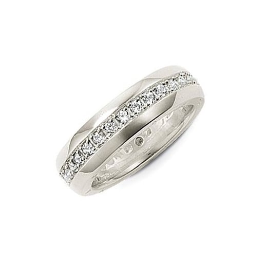 Thomas Sabo Sterling Silver & White CZ Band Ring - Size 54
