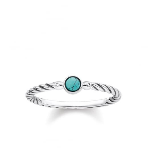 Thomas Sabo Turquoise & Diamond Sterling Silver Twist Ring - Size 52