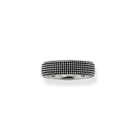 Thomas Sabo Wide Silver Beaded Gents Ring - Size 62