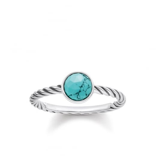 Thomas Sabo Turquoise Twisted Ring - Size 52