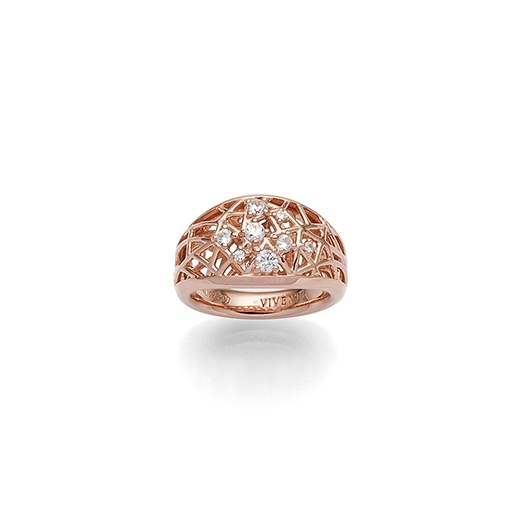 Viventy Ladies ring pink gold plated with zirconia