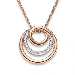 Pendant with chain, zirconia pink gold plated