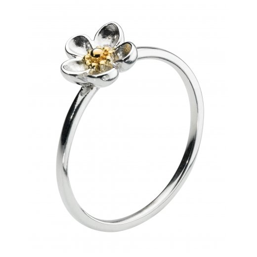 Kit Heath Wood Rose Ring in Sterling Silver & 18ct Yellow Gold