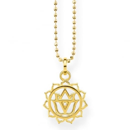 Thomas Sabo Yellow Gold and CZ Lotus Necklace