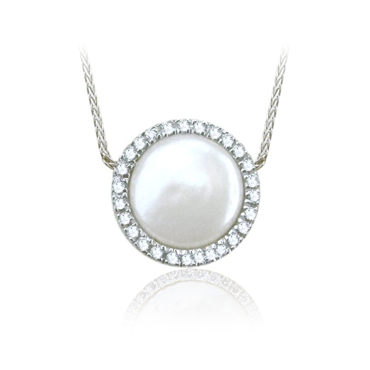 Yvel Coin Pearl & Diamond Cluster Necklace