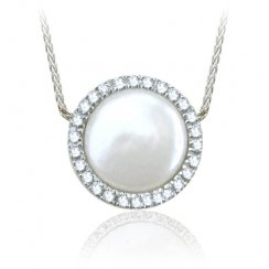 Coin Pearl & Diamond Cluster Necklace