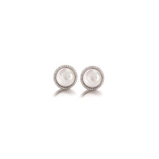 Yvel Coin Pearl & Diamond Halo Stud Earrings