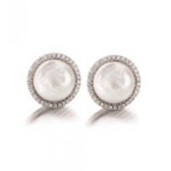 Coin Pearl & Diamond Halo Stud Earrings