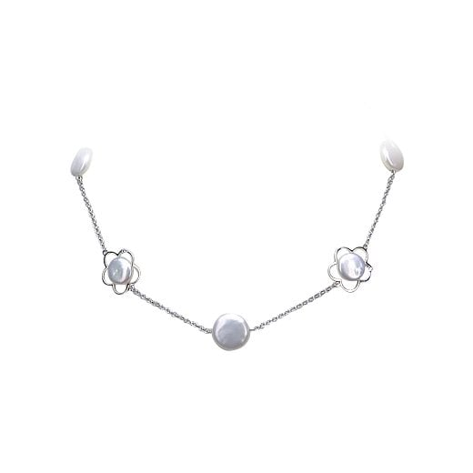 Yvel Coin Pearl & Flower Detail Necklace