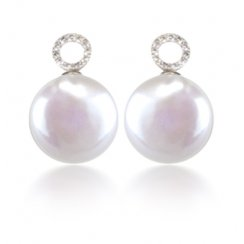 Diamond Circle & Coin Pearl Earrings
