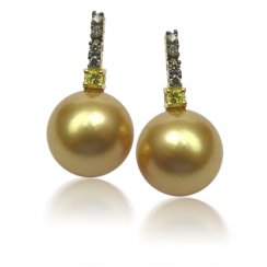 Golden Pearl, Cognac Diamond & Yellow Sapphire Earrings
