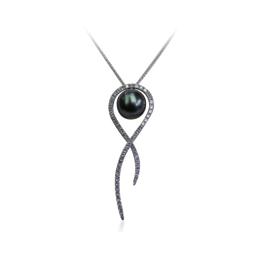 Yvel Grey Tahitian Pearl & Diamond Necklace