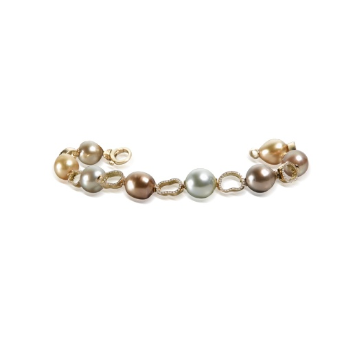 Yvel Multi Coloured South Sea Pearl & Diamond Bracelet