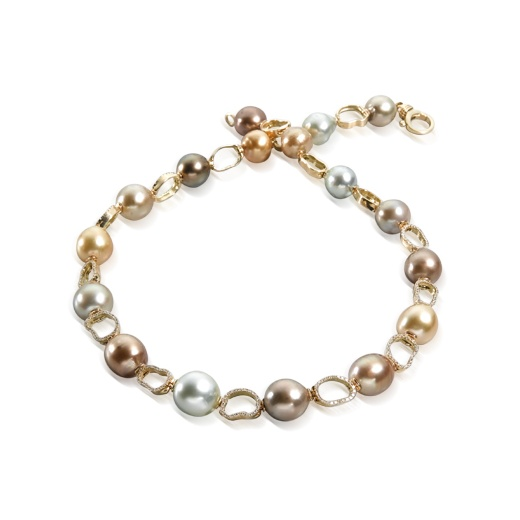 Yvel Multi Coloured South Sea Pearl & Diamond Necklace